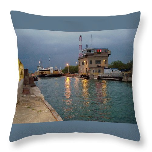 Canal Throw Pillow featuring the photograph Welland Canal Locks by Barbara McDevitt