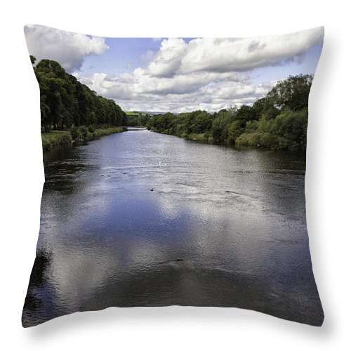 River Throw Pillow featuring the photograph Welsh River Scene by Fran Gallogly