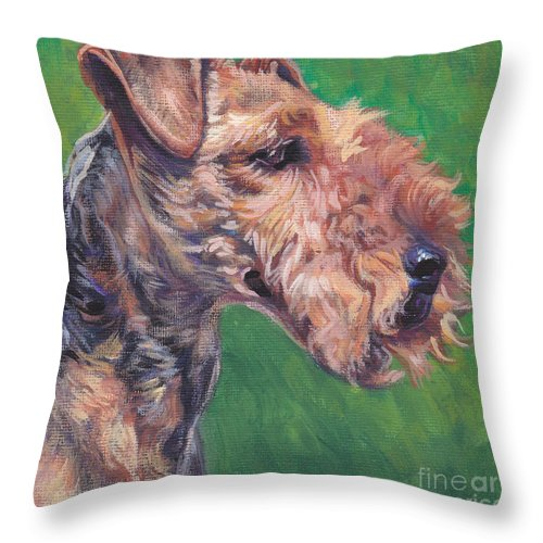 Welsh Terrier Throw Pillow featuring the painting Welsh Terrier by Lee Ann Shepard