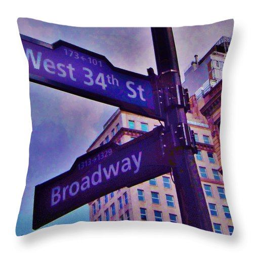 New York Throw Pillow featuring the photograph West 34th And Broadway by Greg Kear