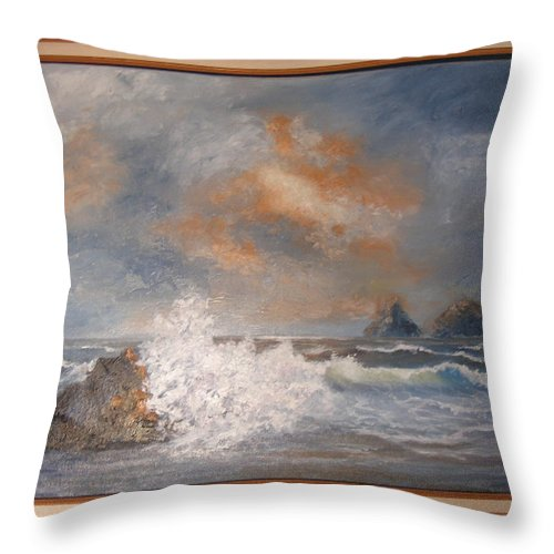 Seascape Throw Pillow featuring the painting West Coast Seascape by Mark Perry