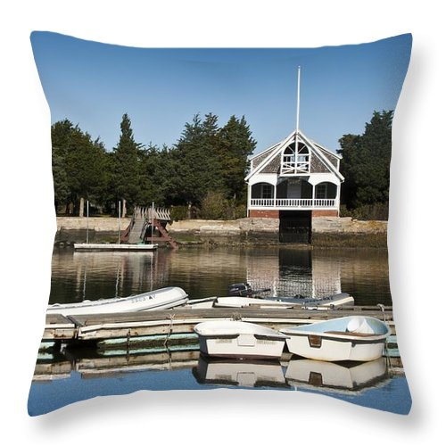 Boat Throw Pillow featuring the photograph West Falmouth Boat House by Dennis Coates