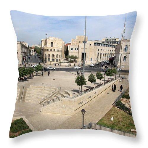 West Throw Pillow featuring the photograph West Jerusalem by Munir Alawi