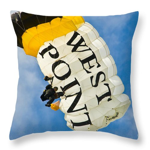 wet Point Throw Pillow featuring the photograph West Point Sky Diver by Anthony Sacco