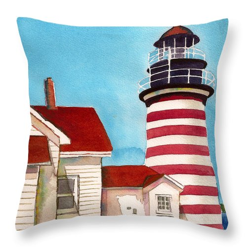 West Quoddy Light House Throw Pillow featuring the painting West Quoddy Light House by Nan Wright