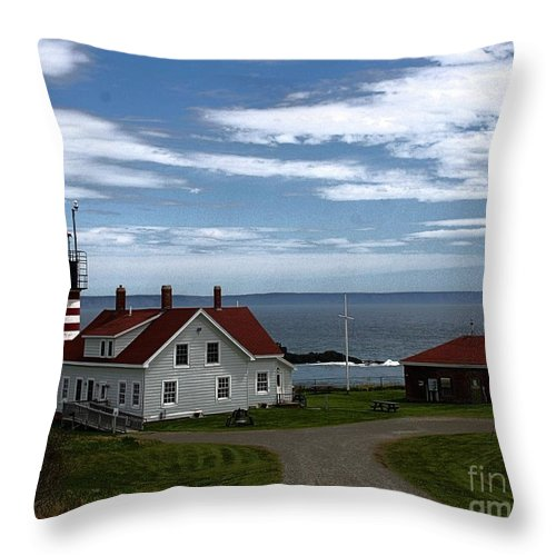 West Quoddy Throw Pillow featuring the photograph West Quoddy Lighthouse by Joseph Marquis