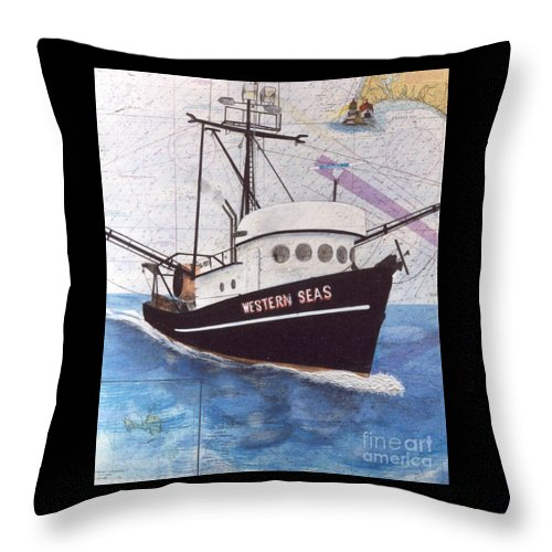 Western Throw Pillow featuring the painting Western Seas Trawl Fishing Boat Nautical Chart Art by Cathy Peek