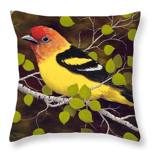 Animals Throw Pillow featuring the painting Western Tanager by Rick Bainbridge