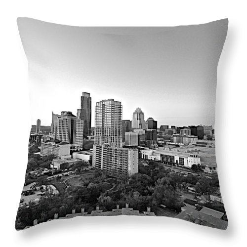 Black And White Austin Skyline Throw Pillow featuring the photograph Western View Of Austin Skyline by Kristina Deane