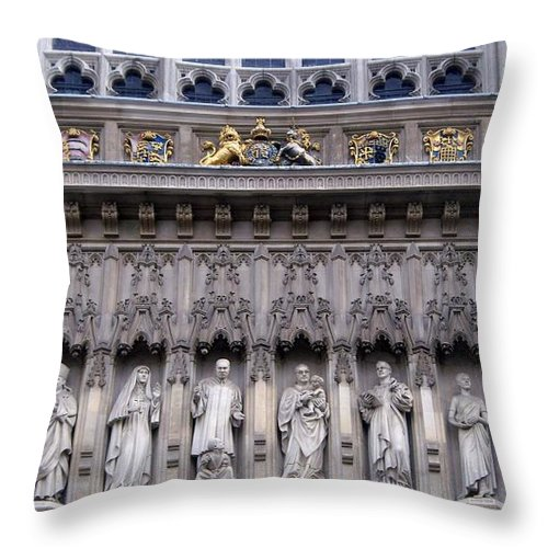 Westminster Throw Pillow featuring the digital art Westminster Abbey 1 by David Voutsinas