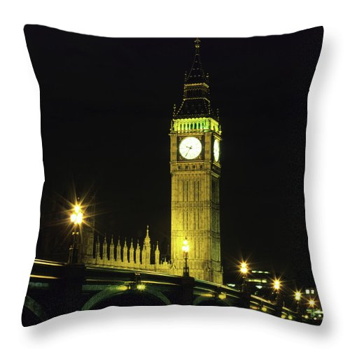 Gothic Style Throw Pillow featuring the photograph Westminster Bridge And Big Ben At by Hisham Ibrahim
