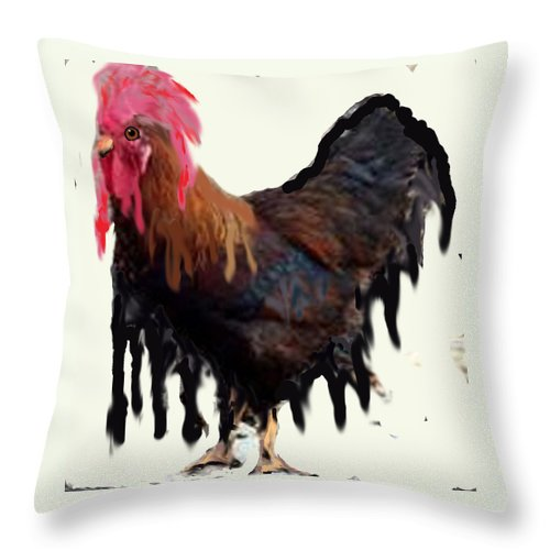 Throw Pillow featuring the digital art Wet Rooster by Roger Swezey