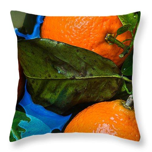 Mandarin Throw Pillow featuring the photograph Wet Tangerines by Alexander Senin