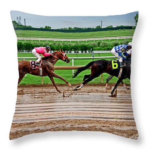 Horse Racing Throw Pillow featuring the photograph Wet Track 007mx by Earl Johnson