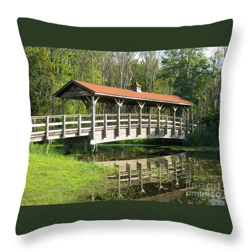 Bridge Throw Pillow featuring the photograph Wetland Footbridge by Ann Horn