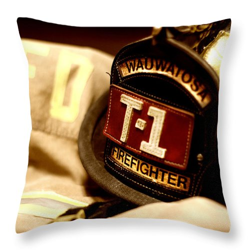 Fire Department Throw Pillow featuring the photograph WFD by Andrew Slater