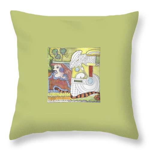 Abstracted Shapes Throw Pillow featuring the mixed media Wha-a-a-a-at by Ruth Dailey
