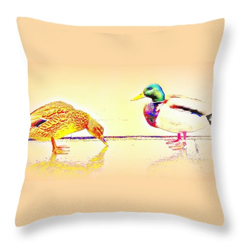 Duck Throw Pillow featuring the photograph Whatever You Are Looking For, You Will Find It by Hilde Widerberg