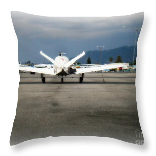 Aviation Throw Pillow featuring the photograph What fly girl is dreaming about by De La Rosa Concert Photography