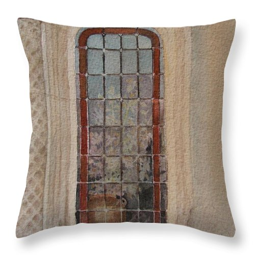 Window Throw Pillow featuring the painting What Is Behind The Window Pane by Mary Ellen Mueller Legault
