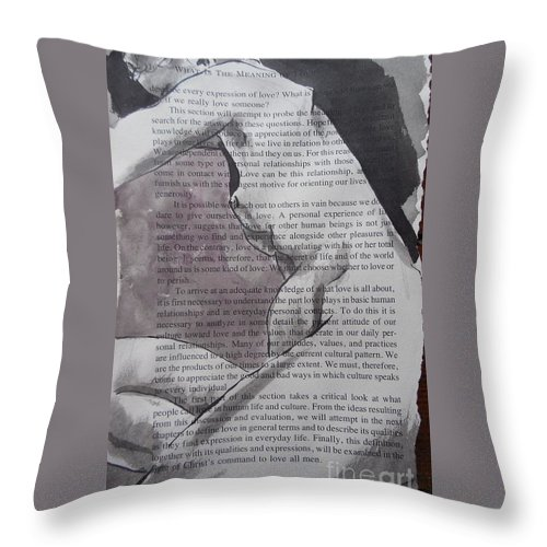 Nude Throw Pillow featuring the drawing What Is The Meaning Of Love 16 by M Bellavia