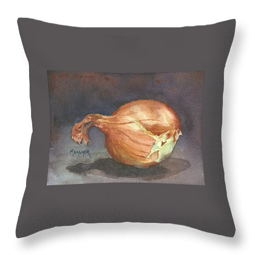 Onion Throw Pillow featuring the painting What Lies Underneath by Spencer Meagher