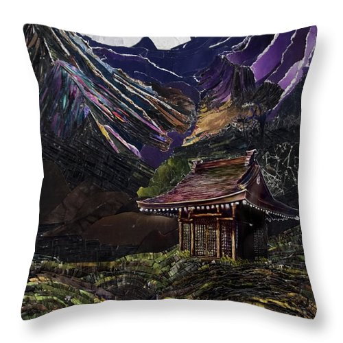 Japan Throw Pillow featuring the mixed media What Time Hasn't Forgotten by Yolanda Raker