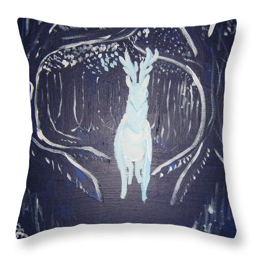 Deer Throw Pillow featuring the painting What Walks These Woods by Wendy Coulson