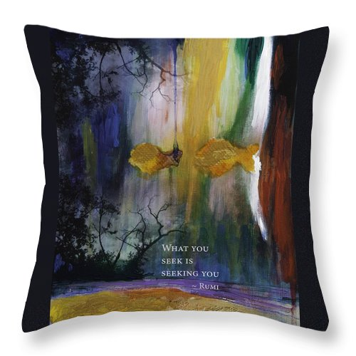 Rumi Throw Pillow featuring the painting What You Seek by Stella Levi
