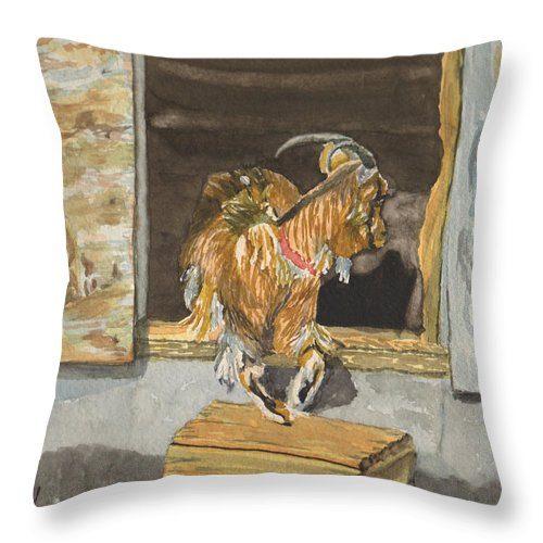 Goat Throw Pillow featuring the painting What's The Password by Sharon E Allen