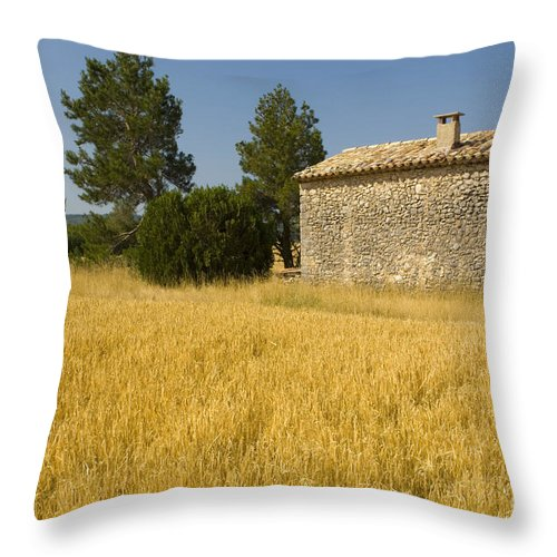 Stone Building Throw Pillow featuring the photograph Wheat Field, France by John Shaw