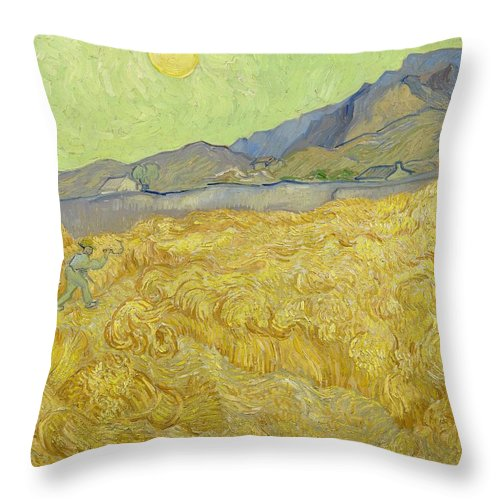 1889 Throw Pillow featuring the painting Wheatfield With A Reaper by Vincent van Gogh