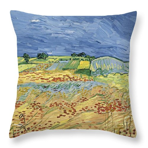 1890 Throw Pillow featuring the painting Wheatfield With Stormy Sky by Vincent van Gogh