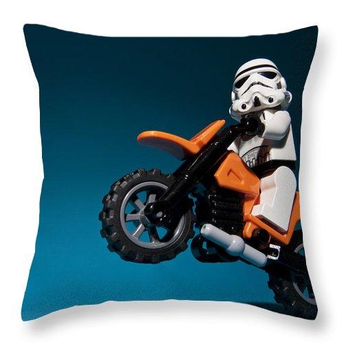 Lego Throw Pillow featuring the photograph Wheelie by Samuel Whitton