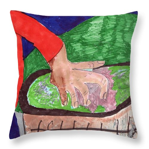 Someone Cleaning Their Patio At Night Throw Pillow featuring the mixed media When Day Work Turns Into Night Work by Elinor Helen Rakowski