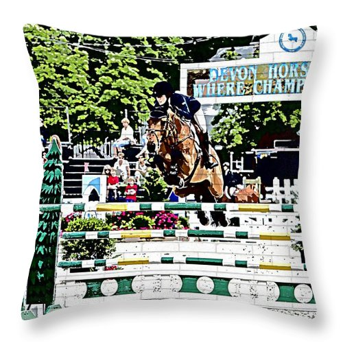 Devon Horse Show Pennsylvania Jumpers Hunters Horses Throw Pillow featuring the photograph Where Champions Meet by Alice Gipson
