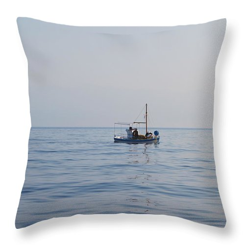 Fishing Boat Throw Pillow featuring the photograph Where Is The Fish? by George Katechis
