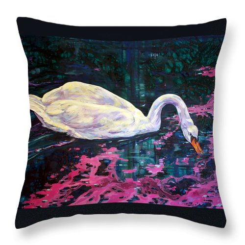 Bird Throw Pillow featuring the painting Where Lilac Fall by Derrick Higgins