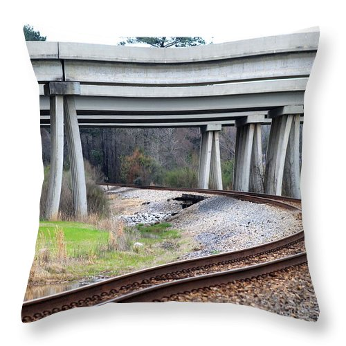 Train Throw Pillow featuring the photograph Where Old And New Cross Paths by Mary Koval