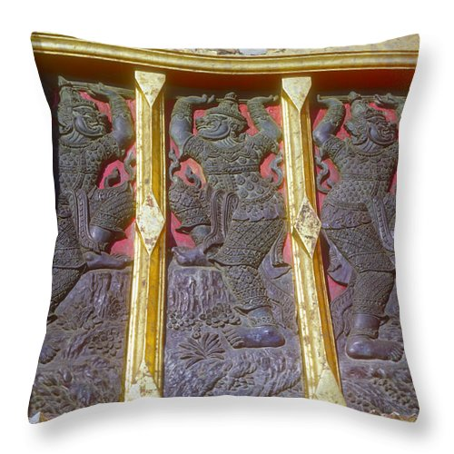 Thai Art Dancing Characters Temple Rubbing Temples Rubbings Bangkok Thailand Artwork Architecture Throw Pillow featuring the photograph Which One Is Different? by Bob Phillips