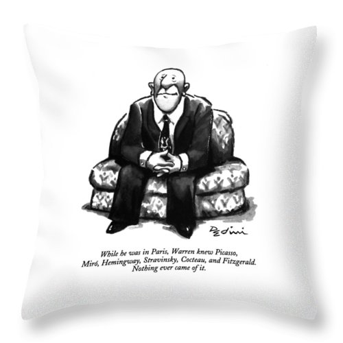 (a Rather Unhappy-looking Man Sits On A Sofa With His Hands Folded) Psychology Throw Pillow featuring the drawing While He Was In Paris by Eldon Dedini