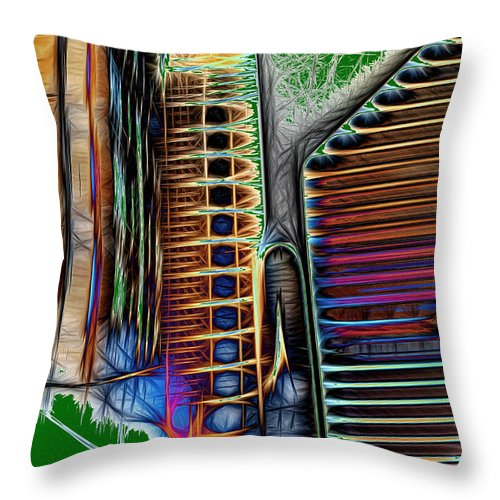 Abstract Throw Pillow featuring the digital art While We Were Gone by John Saunders
