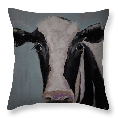 Holstein Cow Painting Throw Pillow featuring the painting Whimisical Holstein Cow Original Painting On Canvas by Gray Artus