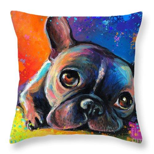 French Bulldog Prints Throw Pillow featuring the painting Whimsical Colorful French Bulldog by Svetlana Novikova