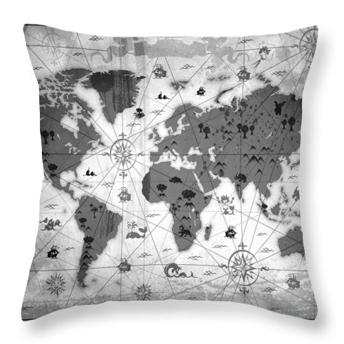 Texture Throw Pillow featuring the mixed media Whimsical World Map Bw by Angelina Tamez