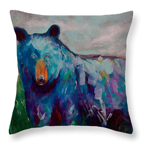 Whimsy Bear Painting Black Bear Brown Bear Wall Art Throw Pillow for ...