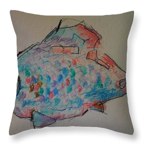 Mixed Media On Paper Throw Pillow featuring the painting Whimsy Fish by Tom Wright