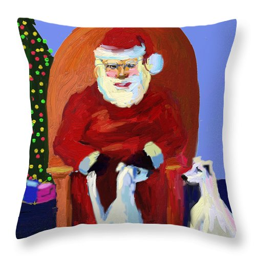 Ipad Finger Painting Throw Pillow featuring the painting Whippet Talk by Terry Chacon