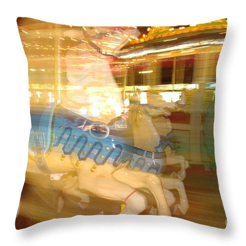 Carousel Throw Pillow featuring the photograph Whirling Carousel by Ray Konopaske