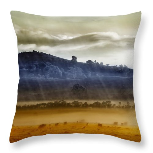 Landscapes Throw Pillow featuring the photograph Whisps Of Velvet Rains... by Holly Kempe